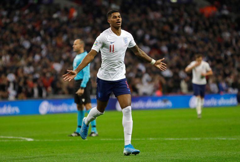 Marcus Rashford viert een doelpunt voor de nationale ploeg van Engeland. Beeld AP