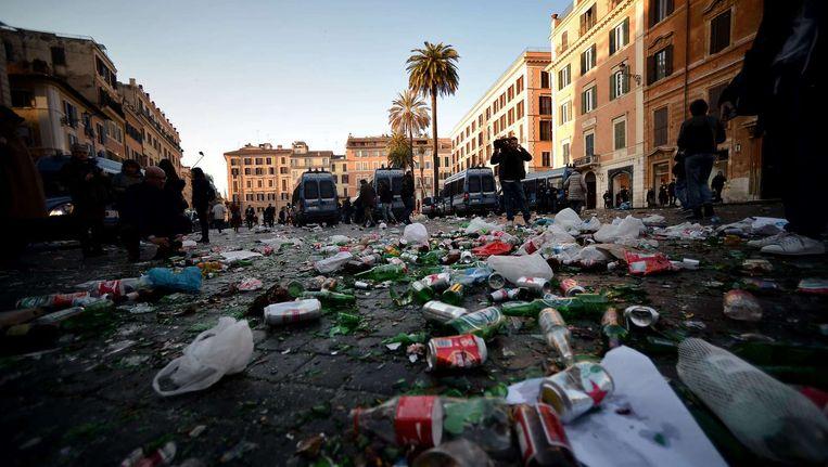 Een deel van de binnenstad van Rome zag er uit als een slagveld. Beeld epa