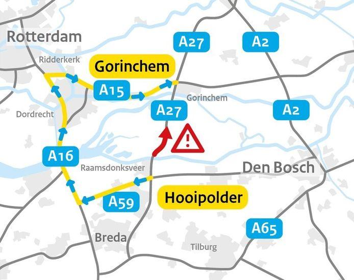 De omleidingsroute die Rijkswaterstaat adviseert.