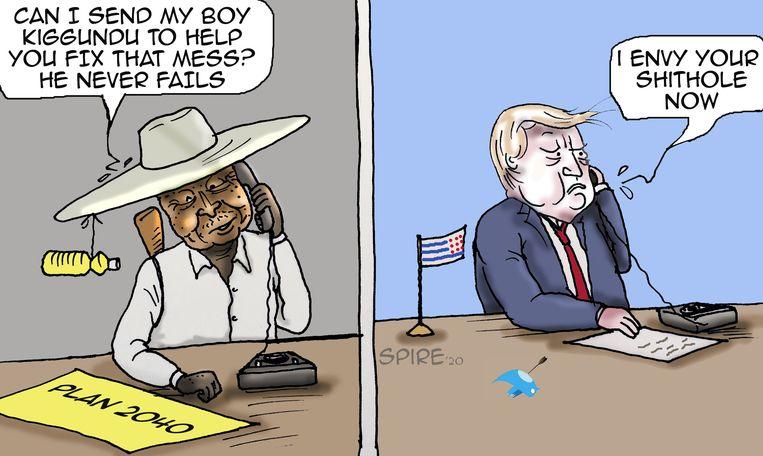 In deze spotprent biedt president Museveni, al 34 jaar aan de macht in Oeganda, Trump zijn hulp aan om de 'rotzooi' in de VS te helpen oplossen. Beeld Jimmy Ssentongo