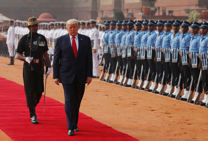 De Amerikaanse president Donald Trump in New Delhi