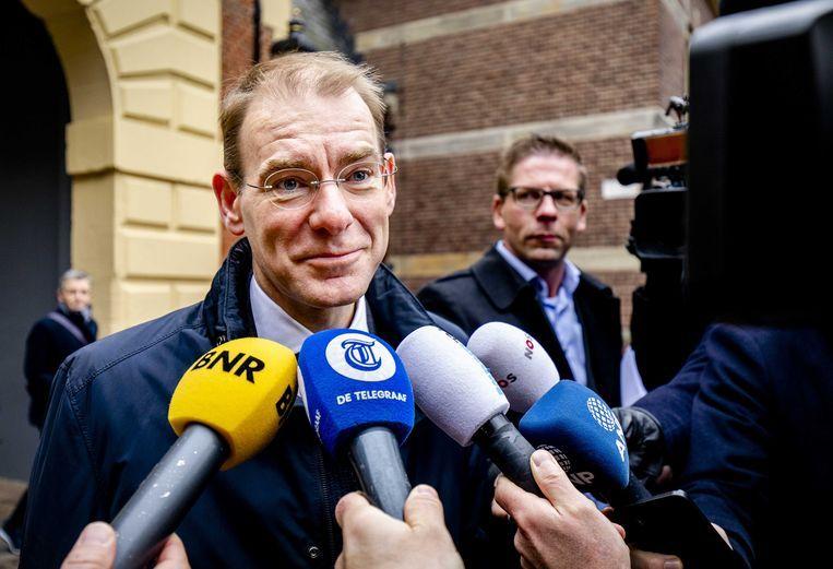 Menno Snel, staatssecretaris van Financiën, vrijdag op het Binnenhof voor aanvang van de ministerraad. Beeld ANP - Sem van der Wal