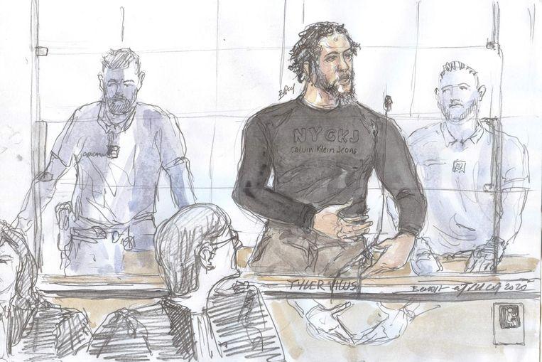 Een schets van Tyler Vilus gemaakt tijdens een zitting van de Parijse rechtbank. (25/06/2020) Beeld AFP
