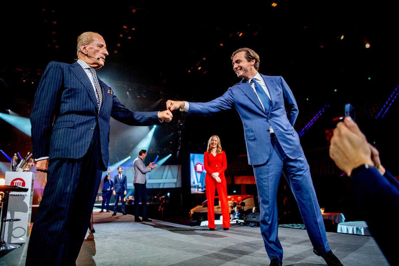 Theo Hiddema en Thierry Baudet tijdens de presentatie van de eerste tien kandidaten voor de Tweede Kamerverkiezingen. Beeld Hollandse Hoogte / Robin Utrecht