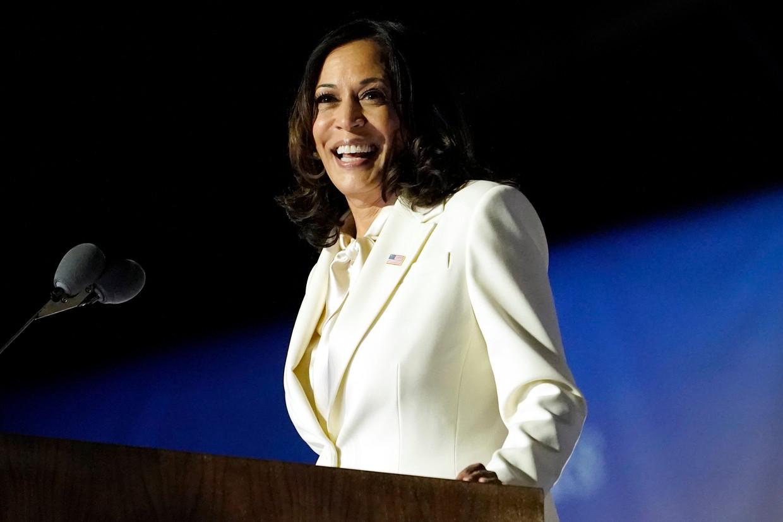 Kamala Harris, zaterdag nadat bekend werd dat ze de nieuwe vicepresident van de Verenigde Staten wordt.