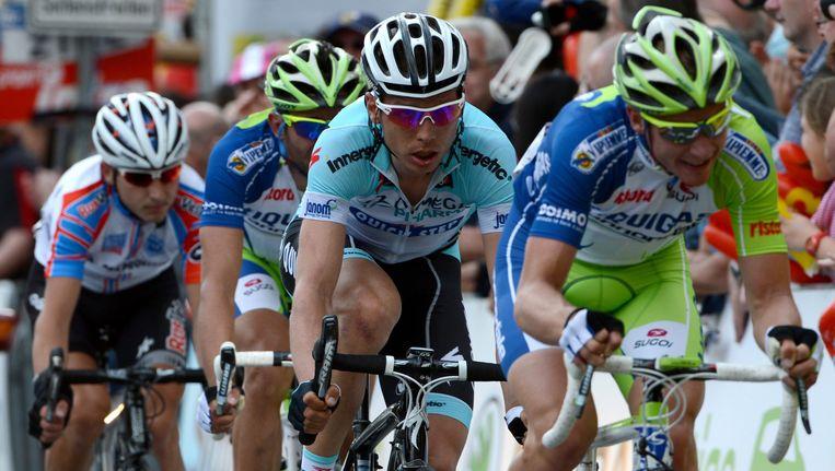 Moreno Moser (tweede van links) won vorig jaar in Frankfurt. Beeld EPA