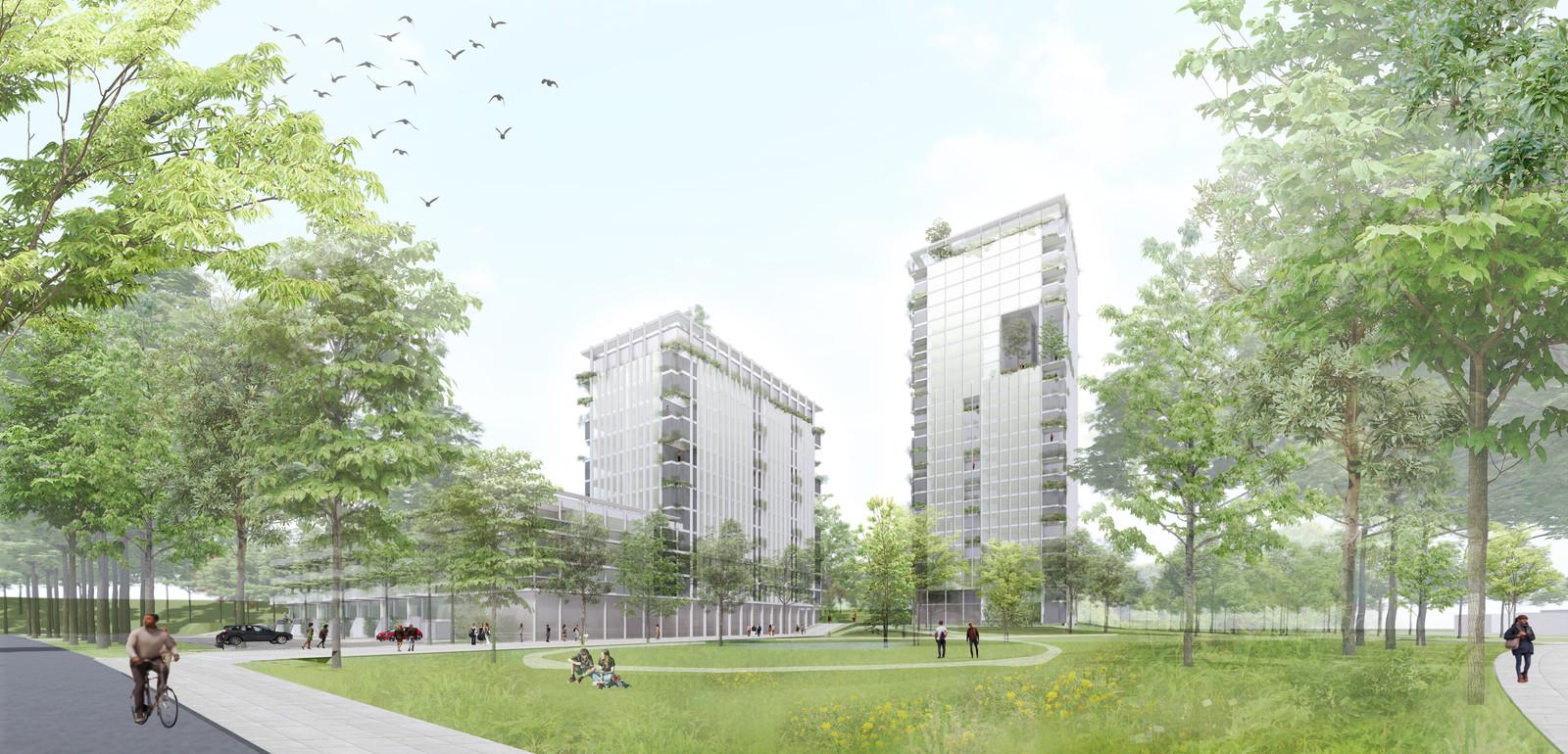 Impressie van nieuwbouw op de locatie van het voormalige kantoorpand van ABN Amro aan de Heerbaan in Breda.