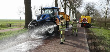500 meter lang spoor van olie gelekt op Meentweg in Eemnes