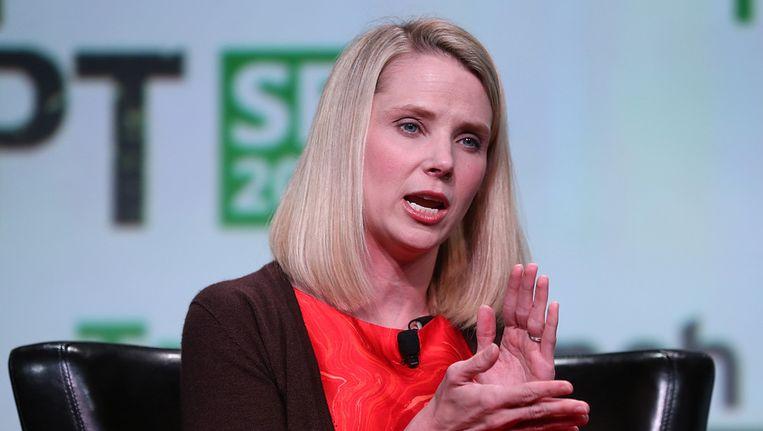 Yahoo-CEO Marissa Mayer tijdens de TechCrunch Disrupt-conferentie. Beeld afp