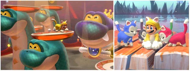 Een keur aan curieuze creaturen en katten in Super Mario 3D World + Bowser's Fury. Beeld Nintendo