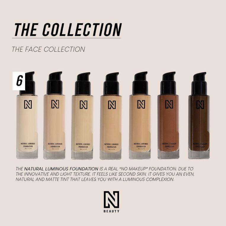 Nikkie Plessen presenteerde haarmerk N-Beauty als 'décomplete make-uplijn'. Er bleek slechts ruimte voor zeven kleuren foundation, waarvan vijf tinten beige.  Beeld Instagram