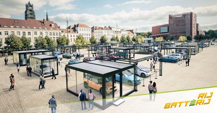 De wagens zullen in glazen kooien gepresenteerd worden tijdens RijBatterij op 't Zand in Brugge.