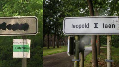 Straatnaamborden Leopold II-laan beklad, gemeente kuist meteen op