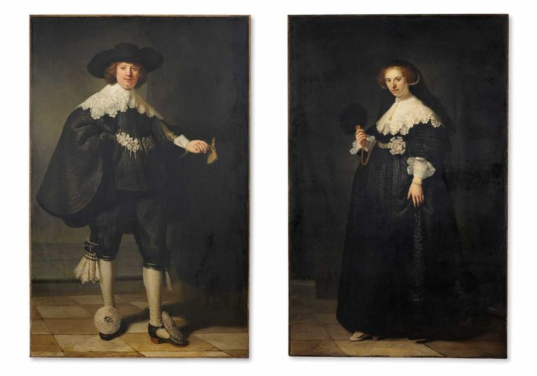 De twee huwelijksportretten van Rembrandt die Frankrijk en Nederland onlangs samen aankochten. Beeld ANP