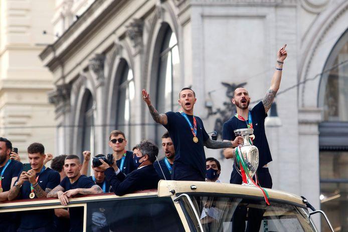 """Pour avoir droit à leur parade dans les rues de Rome, les Azzurri ont dû """"négocier"""" avec les autorités."""