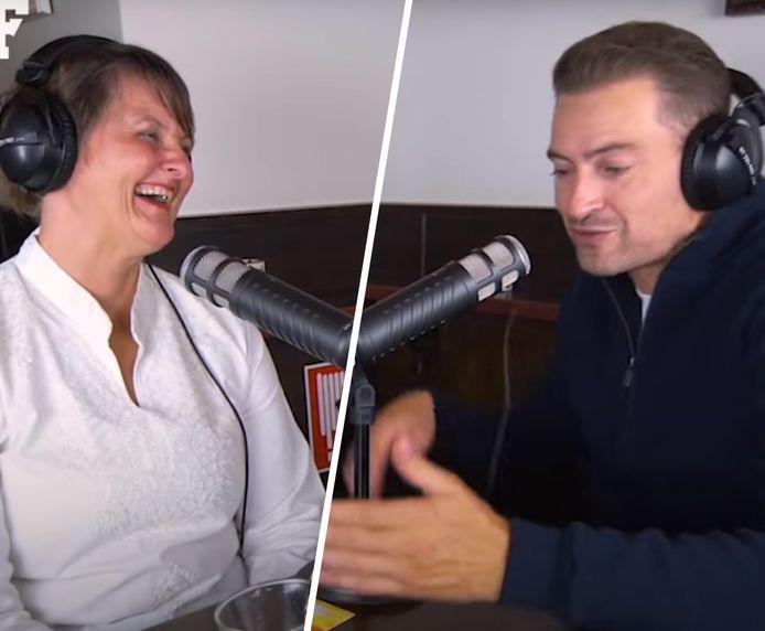 Janet Ossebaard en Lange Frans tijdens de podcast.