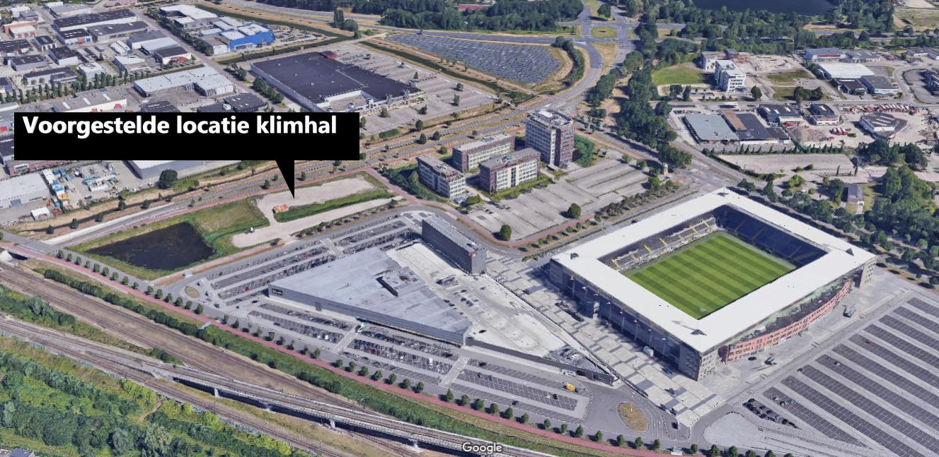 De voorgestelde locatie voor een klimhal aan de Stadionstraat in Breda.