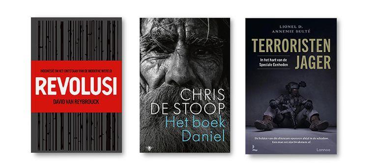 Van links naar rechts:  Revolusi - David van Reybrouck,  Het boek Daniel - Chris de Stoop,  Terroristenjager - Annemie Bulté; Lionel D. Beeld Bookspot