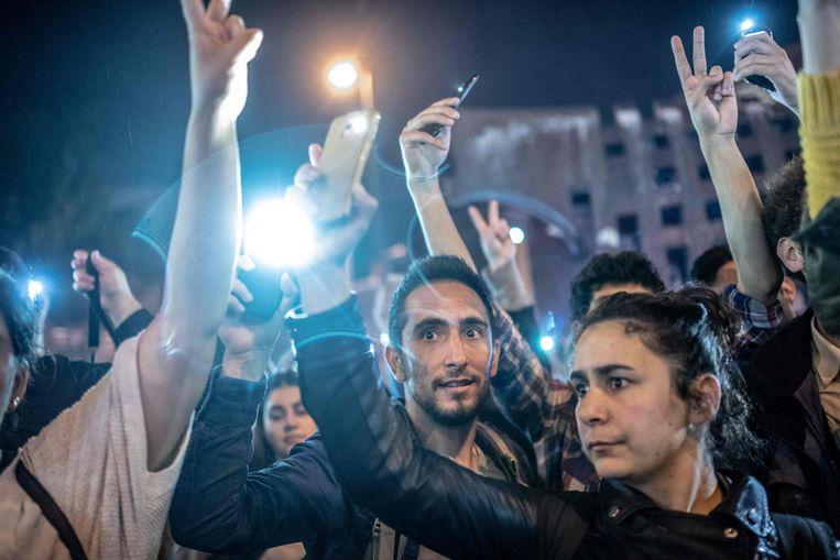 Oppositieaanhangers gingen dinsdag de straat op in Istanbul om te protesteren tegen de nieuwe verkiezingen. Beeld AFP
