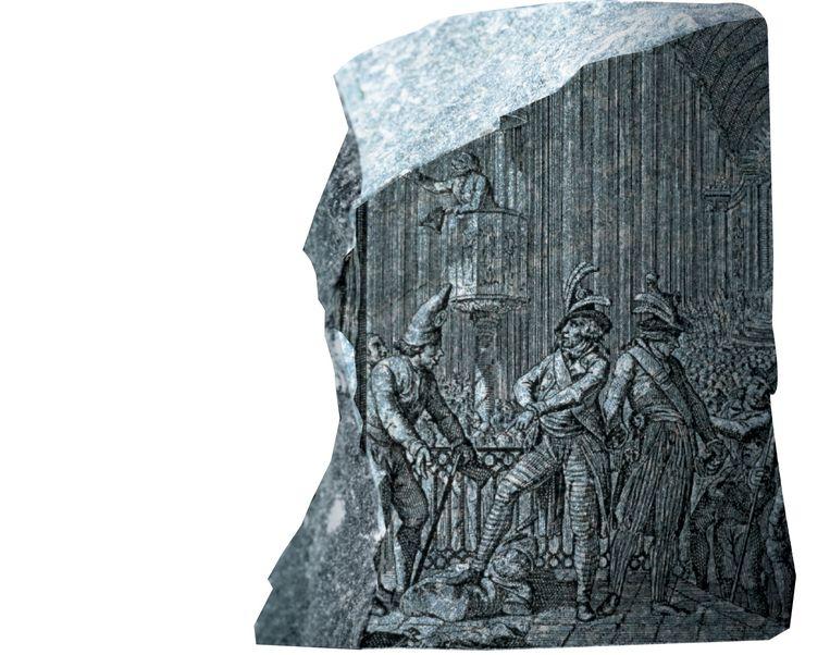 Tijdens de Franse Revolutie (1789 tot 1799) werden kerken en kloosters geplunderd. In de gravure zijn aanhangers van de revolutie te zien in een kerk in Straatsburg. Beeld