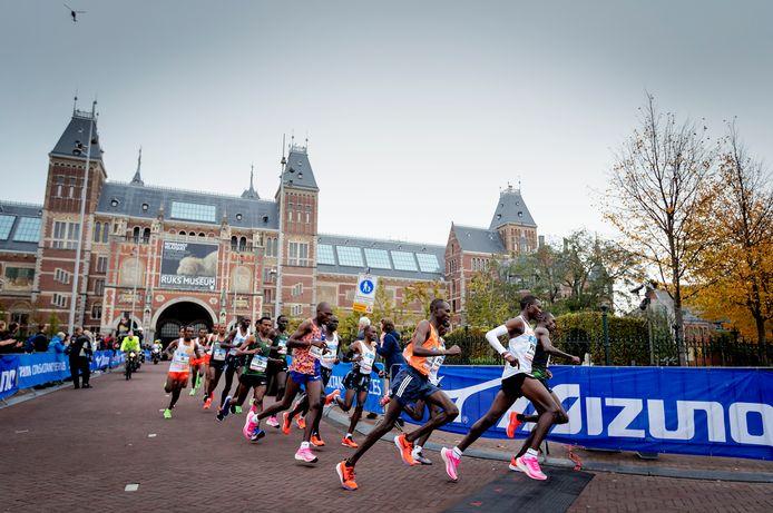 Beeld van de Amsterdamse marathon in 2019.