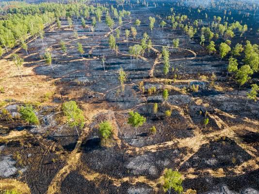 23 april: de enorme omvang is goed te zien op deze foto van twee dagen na de brand.