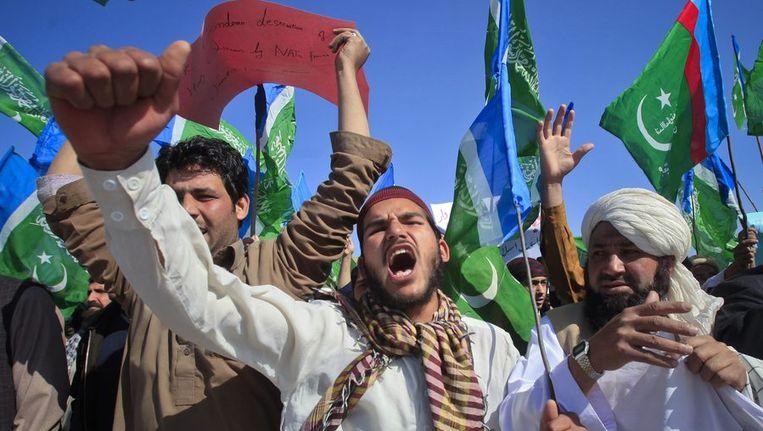 Protesten tegen de mogelijke koranverbranding. Beeld reuters