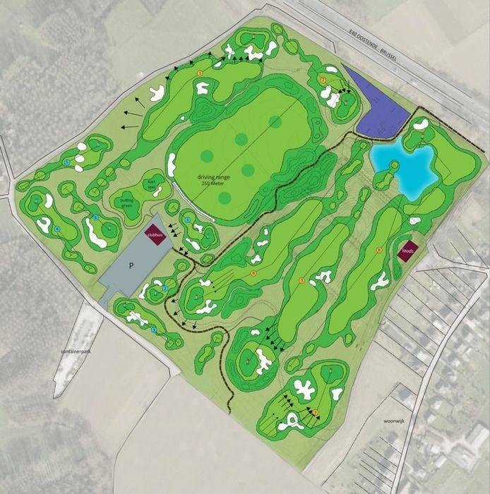 Het golfterrein telt negen holes en leent zich voor beginnende golfers.