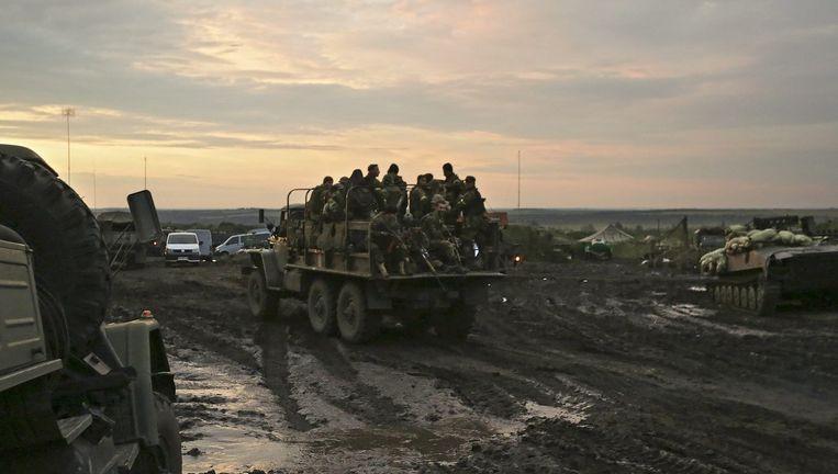 Het hoofdkwartier van het Oekraïense leger in Izyum, in het oosten van het land. Beeld EPA