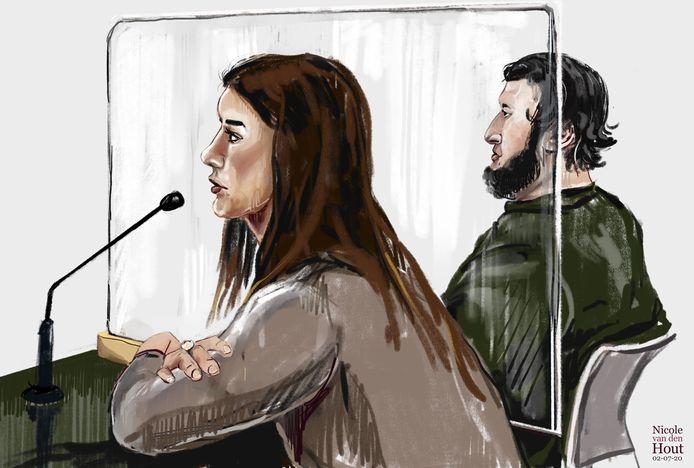 Laura D. op een rechtbanktekening.