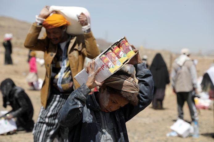 Vluchtelingen in een opvangkamp in Sanaa, in Jemen. (Archiefbeeld)