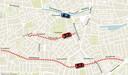 Wijkraad Zuiderkwartier vreest dat met het verkeersluw maken van de cityring (blauwe lijn) nieuw oost-west-routes ontstaan over de Nieuwstraat of de Groenstraat-Oerlesestraat (rode lijnen).