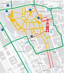 De rode straten zijn tijdelijke toegevoegd aan het voetgangersgebied dat in oranje is aangegeven