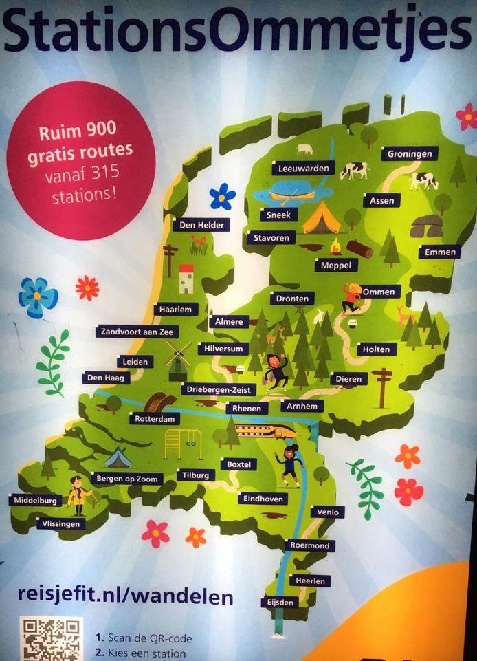 Een NS-poster van StationsOmmetjes, met Middelburg en Vlissingen in Zeeuws-Vlaanderen.