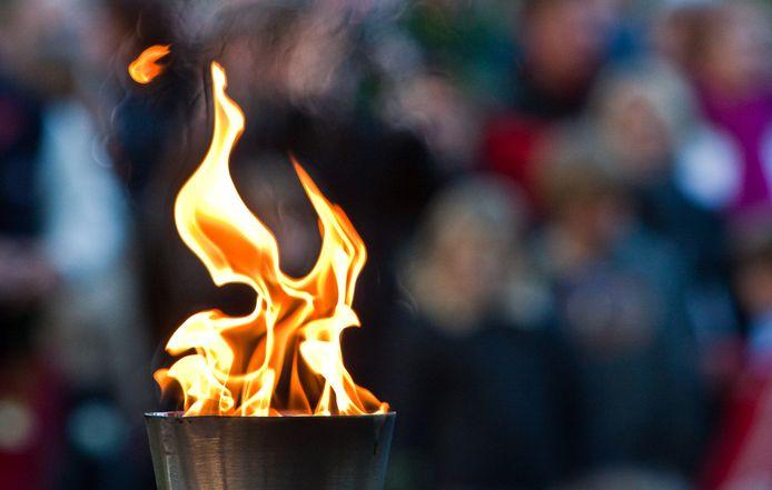 Het Bevrijdingsvuur brandt in Wageningen.
