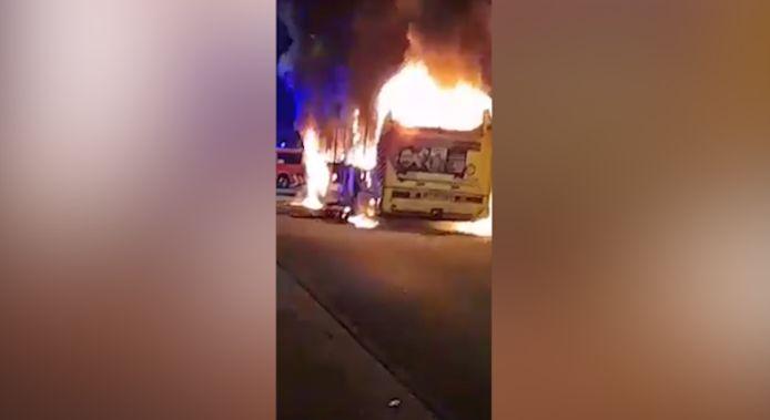 Bus en feu à Jumet (Charleroi)