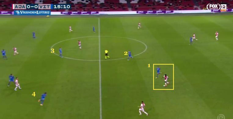 Kudus passeert vier spelers van Vitesse. Beeld Screenshot
