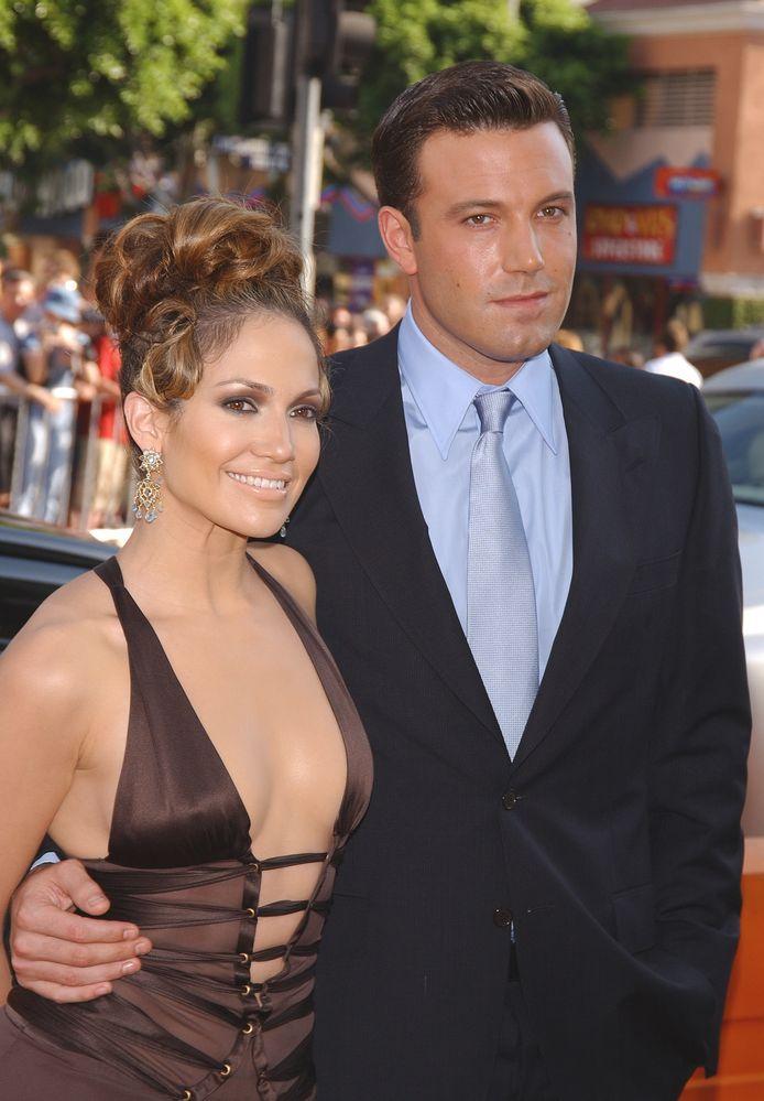 "Ben Affleck and Jennifer Lopez à la premiere of ""Gigli""."