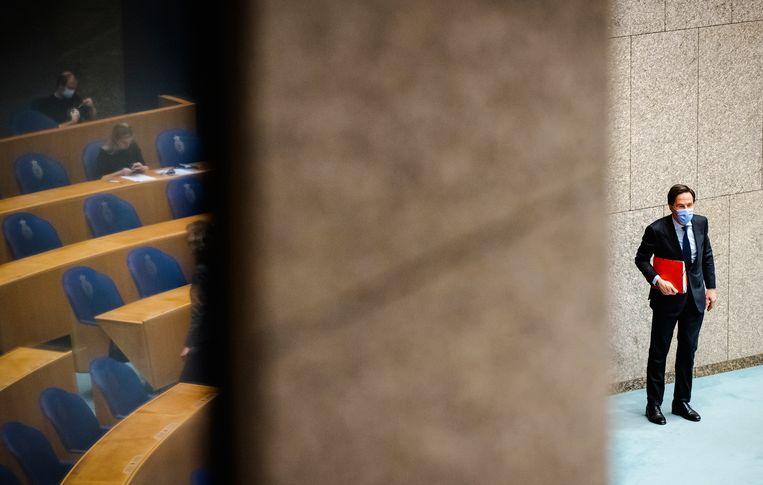 Demissionair premier Mark Rutte: 'Je wilt ook niet dat je het draagvlak nu helemaal open gooit en het dan net voor de verkiezingen weer dicht moet gooien.' Beeld Hollandse Hoogte /  ANP