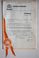 Het octrooibewijs van Huib van Deutekom voor oplaadbare batterijen.