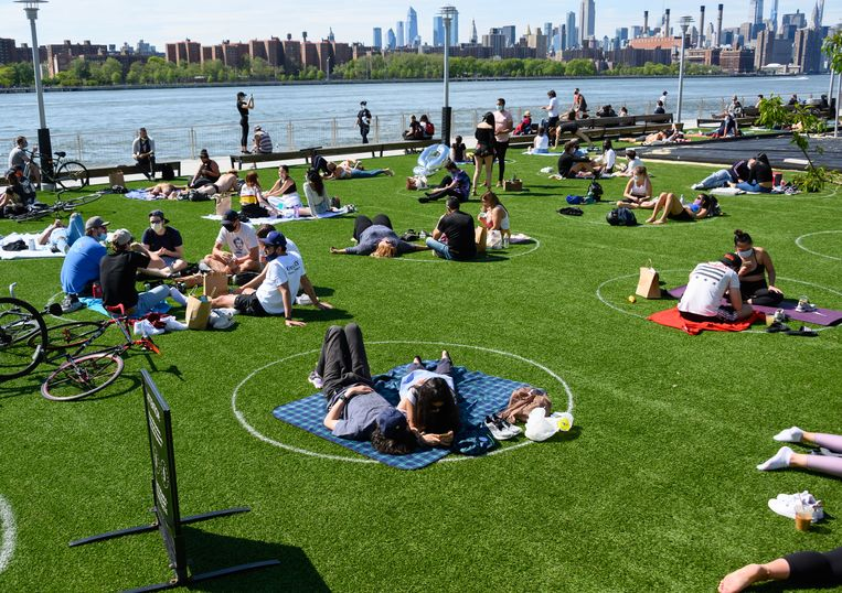 Domino Park in Williamsburg op 17 mei 2020 in New York. Beeld Getty Images