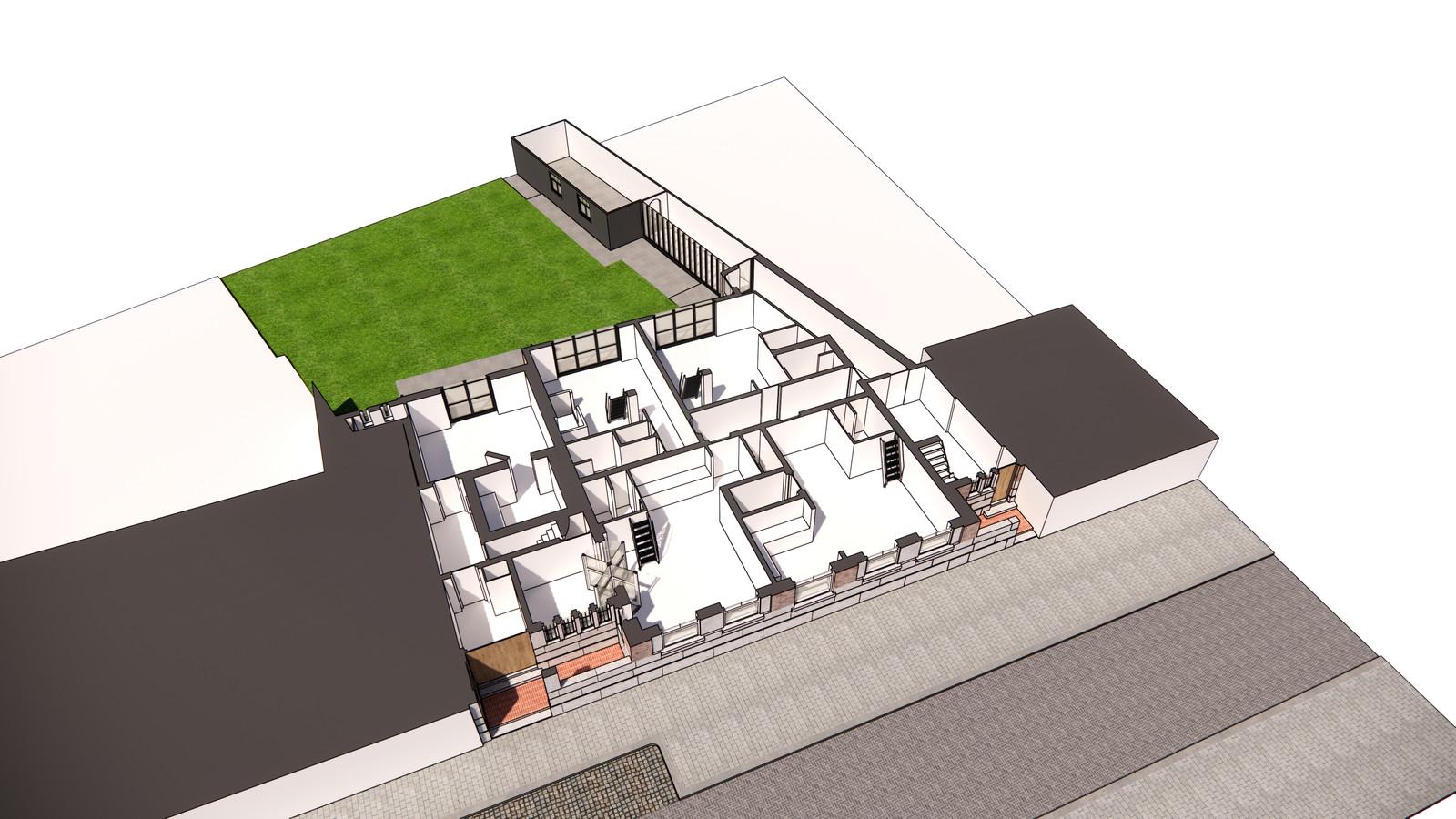 Bovenaanzicht van de indeling van toekomstig appartementengebouw Stationsstraat 38-40, begane grond.