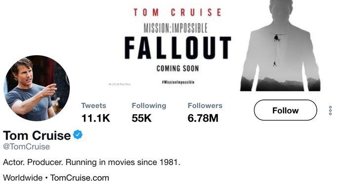 'Running in movies since 1981'. Tom Cruise schijnt er zelf ook om te kunnen lachen dat veroudering geen belet vormt.