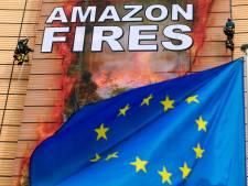 """Greenpeace déploie une banderole géante à la Commission européenne: """"L'Amazonie brûle, l'Europe coupable"""""""