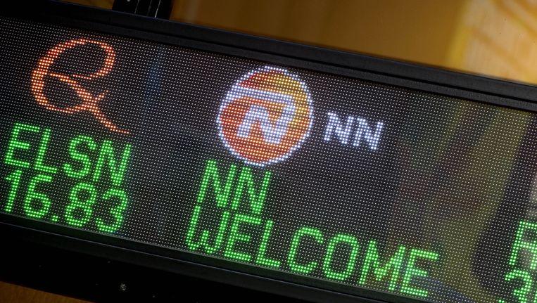 Beursnotering van verzekeraar NN Group, die met 22 miljard de grootste belegger in de Nederlandse beursgenoteerde bedrijven is Beeld ANP