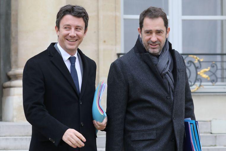 Regeringswoordvoerder Benjamin Griveaux en de Franse minister van Binnenlandse Zaken Christophe Castaner.