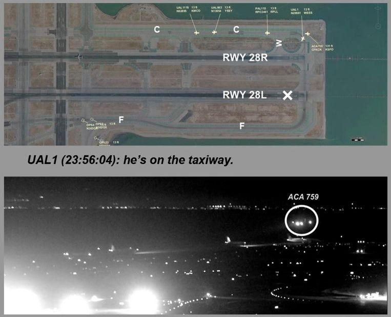 Onder: vlucht 759 van Air Canada flight is aan het landen. Boven: een kaart van de betrokken landings- en taxibanen van de luchthaven van San Francisco.