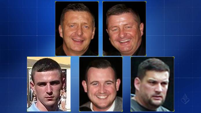 De vijf Schotten maken deel uit van een grote criminele organisatie en worden verdacht van het plegen van zware vergrijpen, waaronder ontvoeringen, martelingen en moorden.