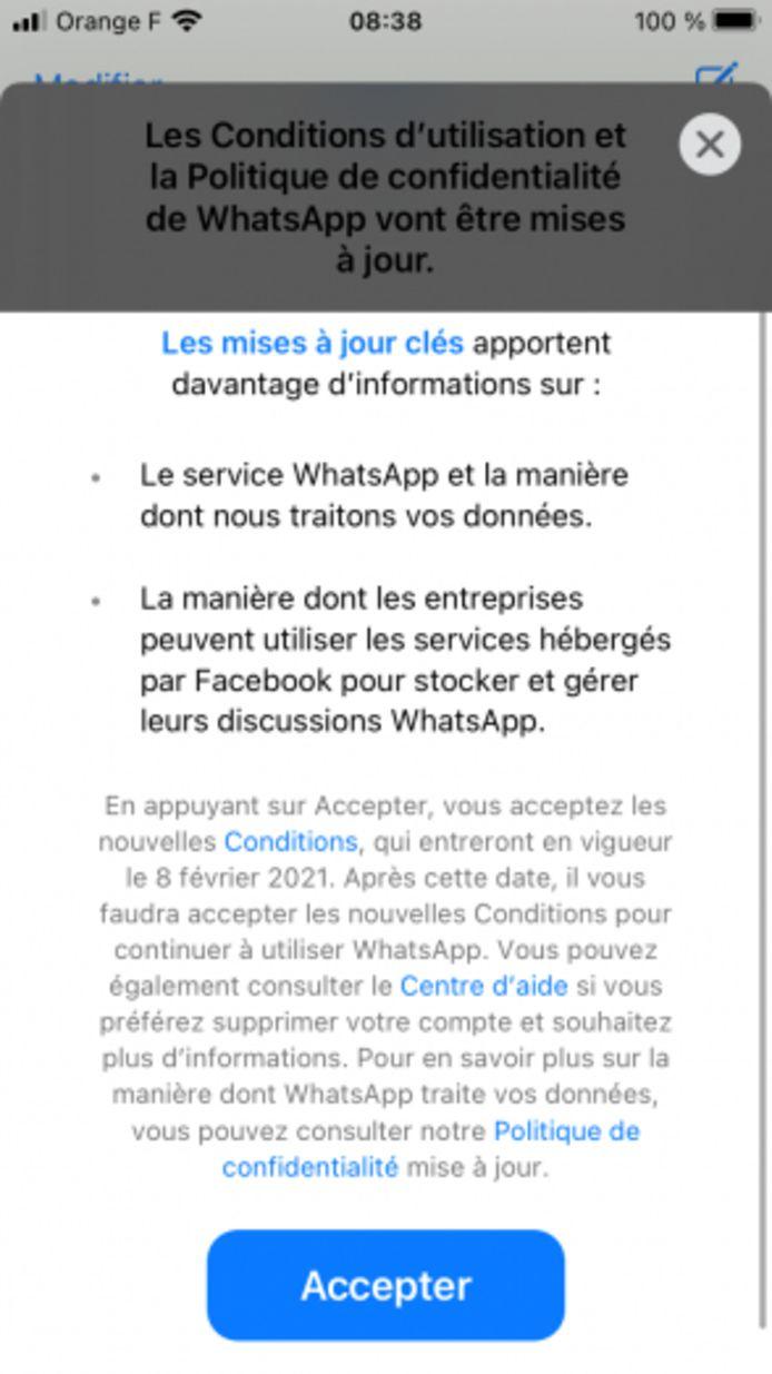 Les nouvelles conditions d'utilisation et la nouvelle politique de confidentialité de WhatsApp (capture d'écran)