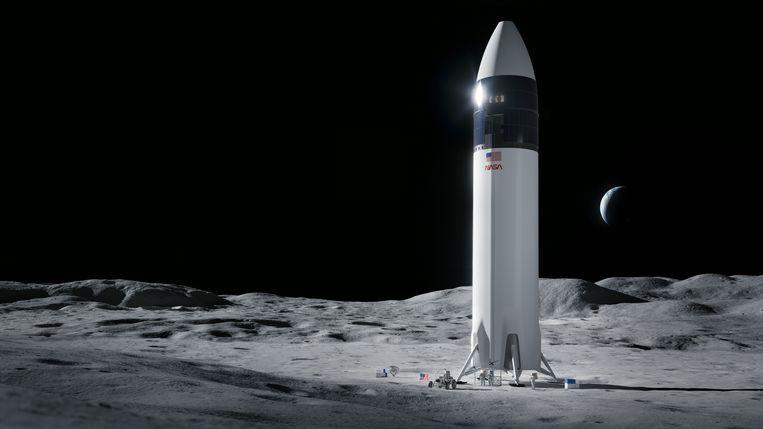 Een impressie van de Lunar Starship van SpaceX op het oppervlak van de maan. Beeld SpaceX